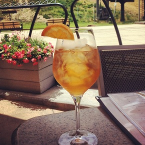 An Aperol Spritz on the patio of Ajax Tavern