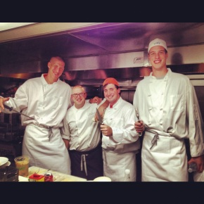 Little Nell Chef Nick Fine (second from left) gives these Duke students some tips in the kitchen.