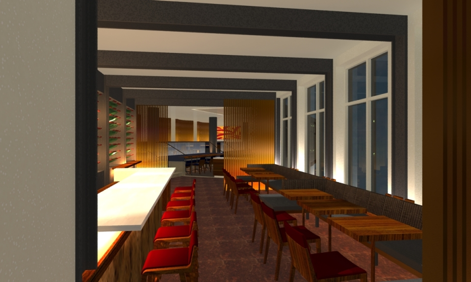 A rendering of the entry/bar of Element 47 in Aspen.