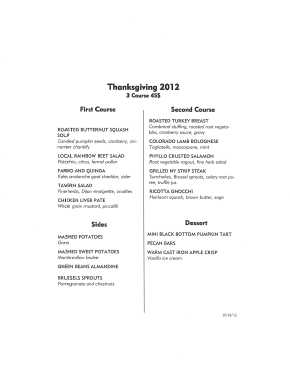Thanksgiving 2012 Dinner Menu