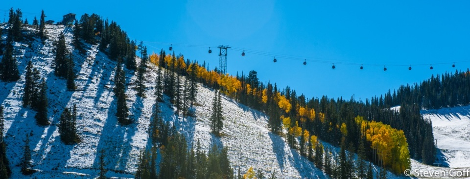 Ah, the gondola gleams in the sun. Love fall bluebird skies.