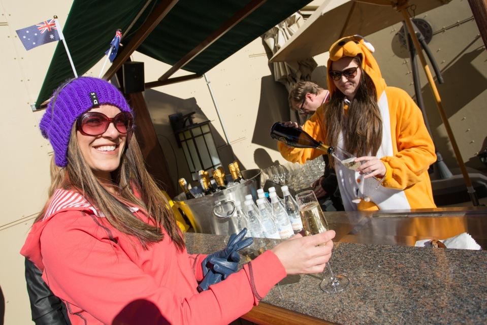 Kangaroos serving champagne.
